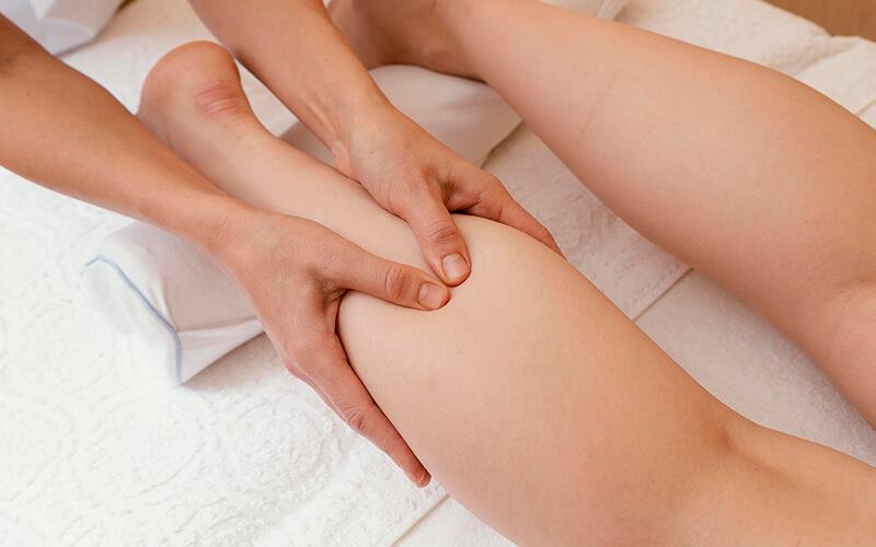leg being massaged